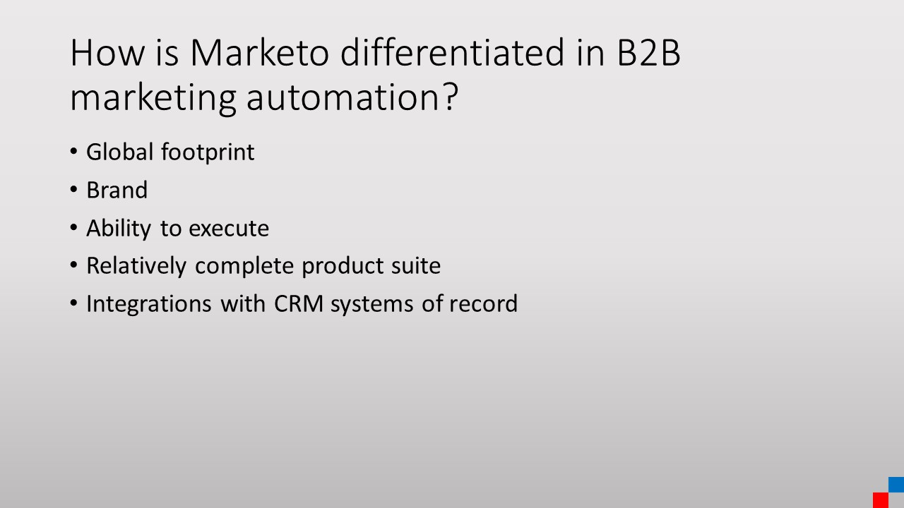 What are Marketo's product strengths?